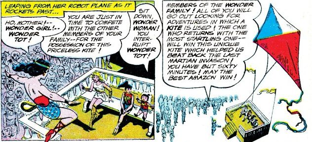 Two panels showing the Wonder family competing in a contest for a giant kite.