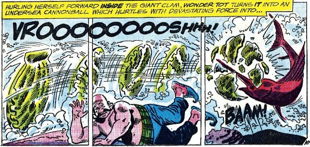Three panels showing a giant clam hurtling into a swordfish, apparently thrown by Wonder Tot.