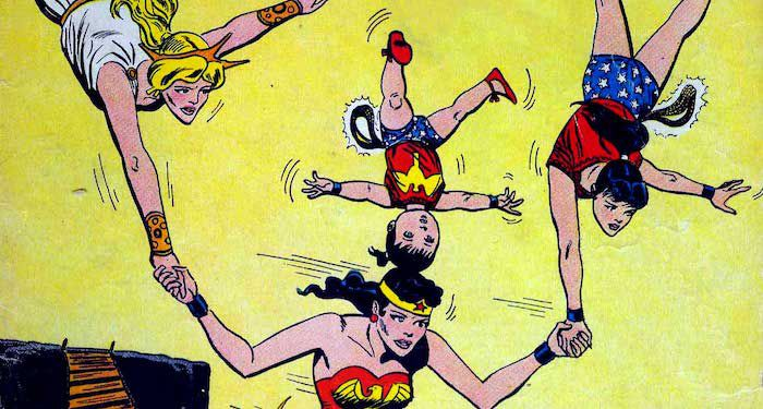 Wonder Woman balancing her younger selves