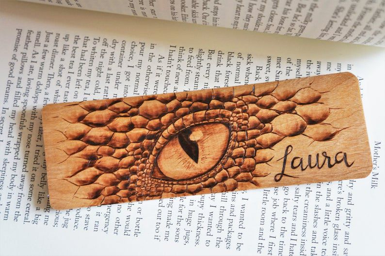 Wooden dragon eye bookmark