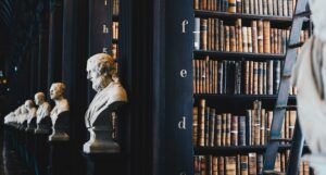 Bookshelves and statue busts for philosophy feature
