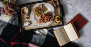 breakfast in bed with a book for food