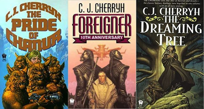 collage of three cover image of C.J. Cherryh books