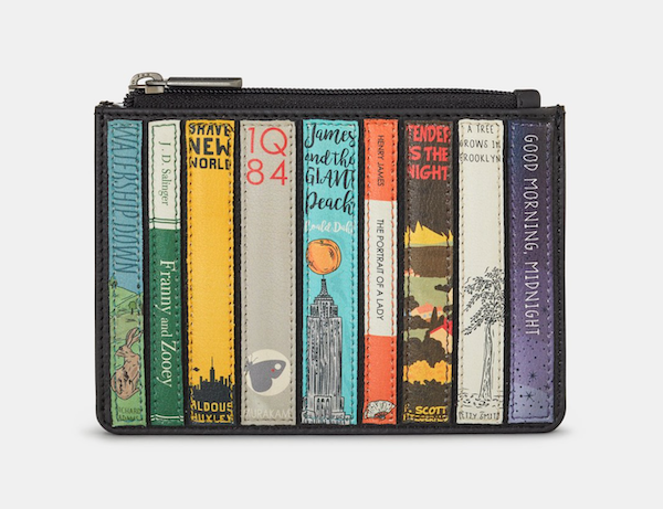 image of a black leather purse with appliqué images of classic book spines