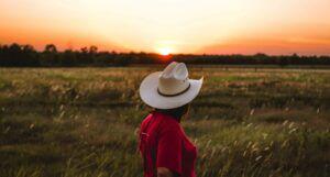 a person wearing a red shirt and cowboy hat standing near green grass under a golden sky https://unsplash.com/photos/gYldcju-Fz8