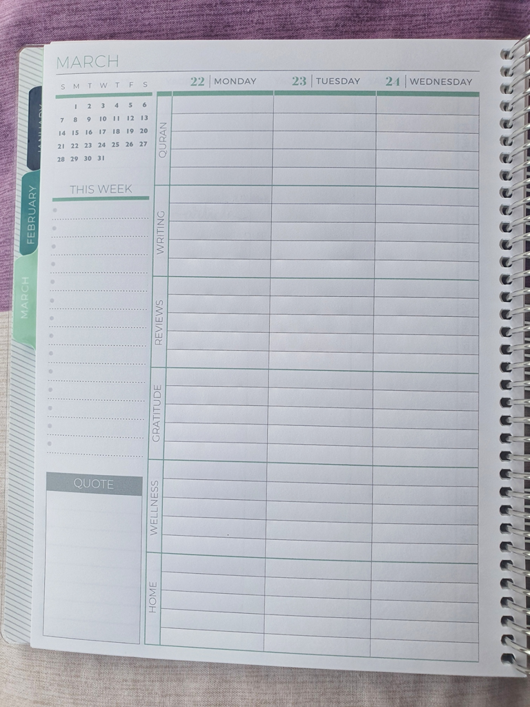 """Plum Paper Planner Internal Layout. Each day has its own column, and the page is divided into rows labelled """"Quran, Writing, Reviews, Gratitude, Wellness, and Home"""""""