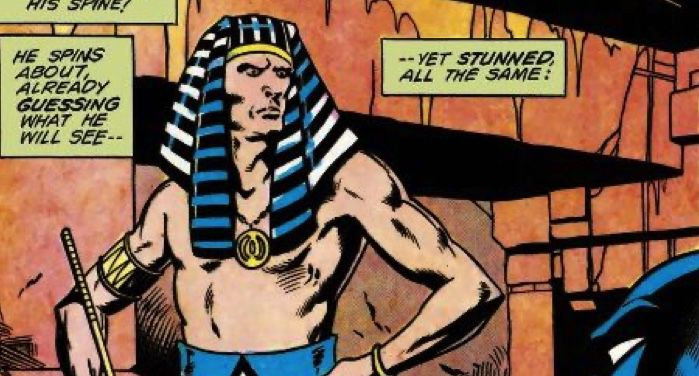 image of King Tut from a comics panel of Detective Comics #508
