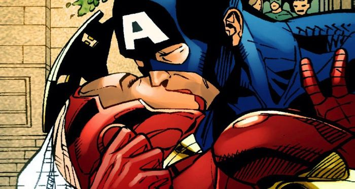 captain america and iron man kissing on their wedding day