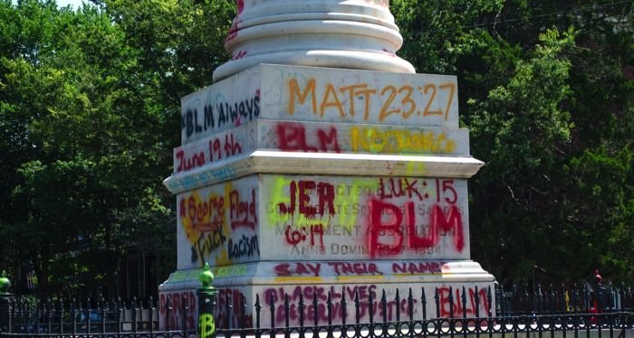 monument with black lives matter graffittis in richmond va