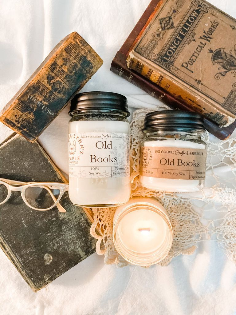 old books scented candles