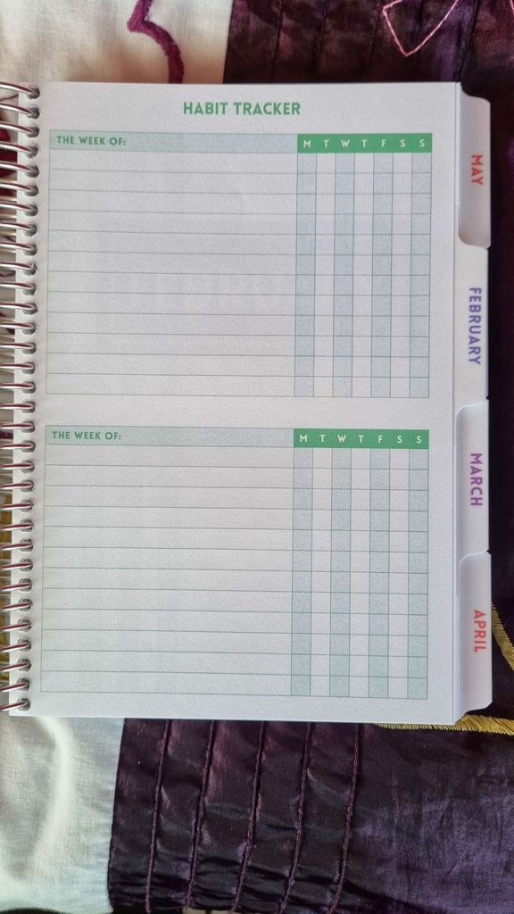 Habit tracker, with rows to label habits and check boxes for each each of the week