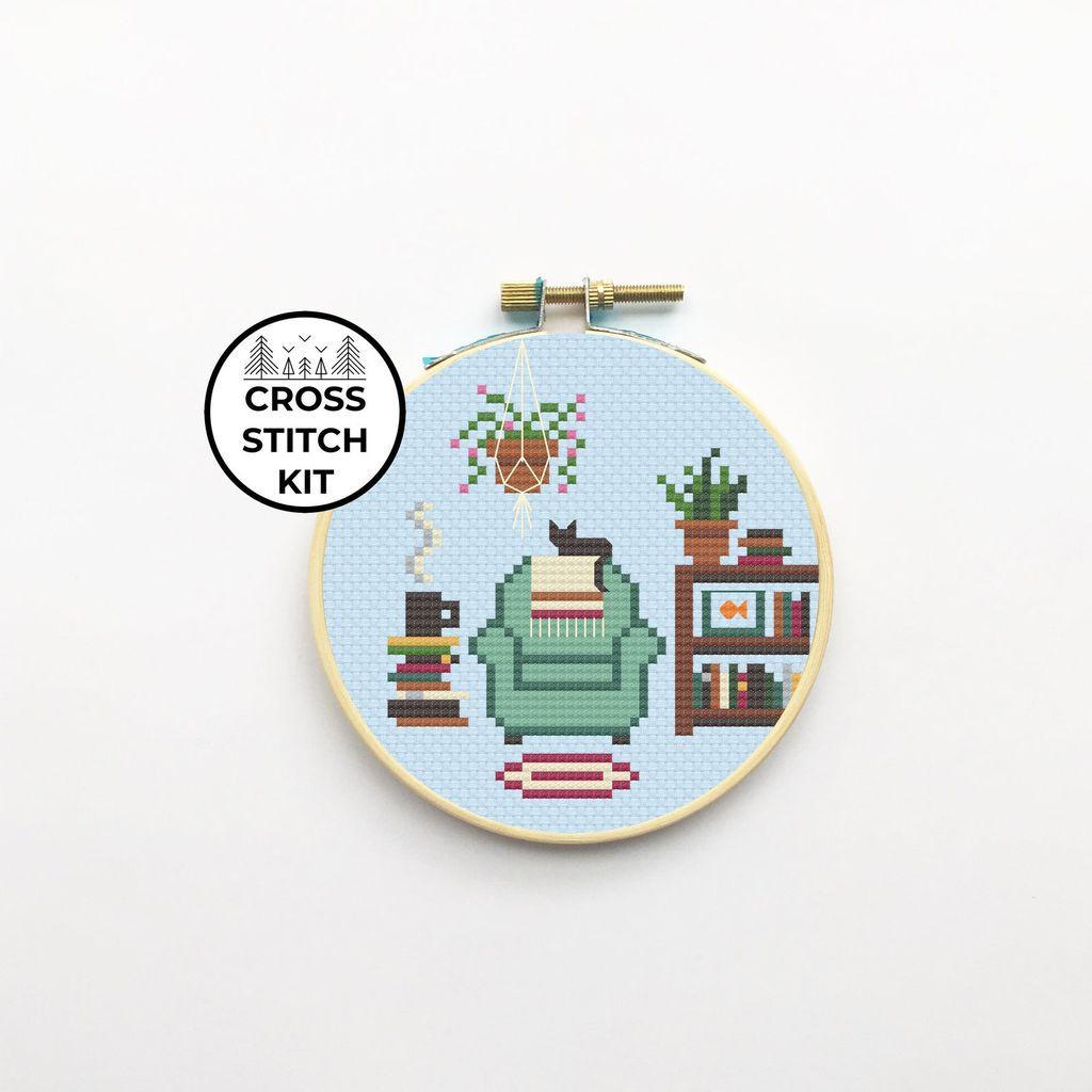 reading chair cross stitch kit