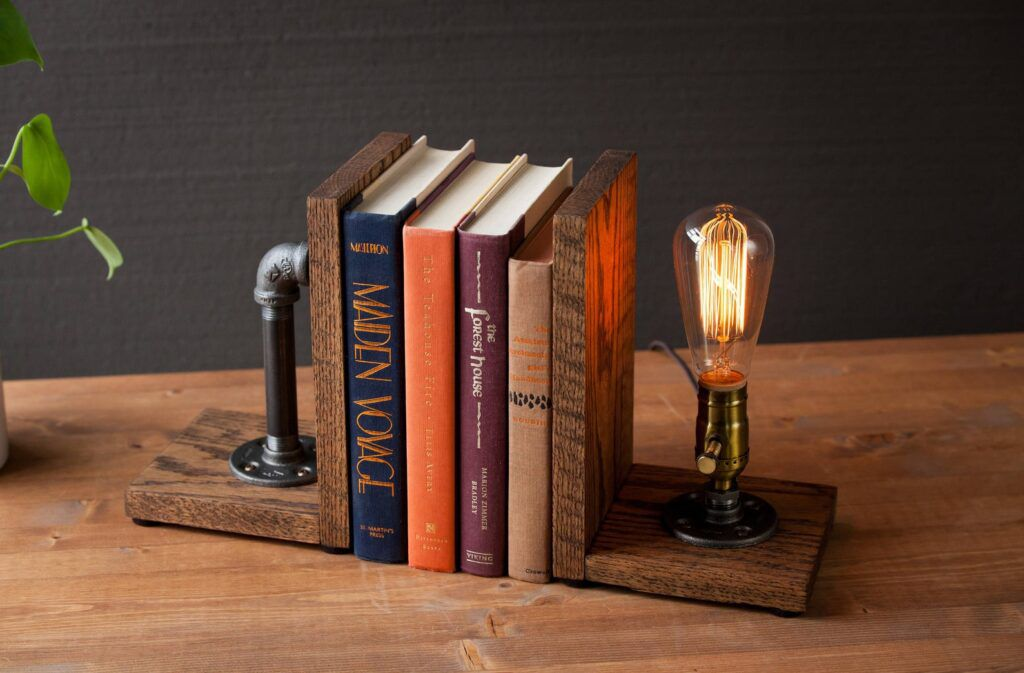 rustic bookend lamp