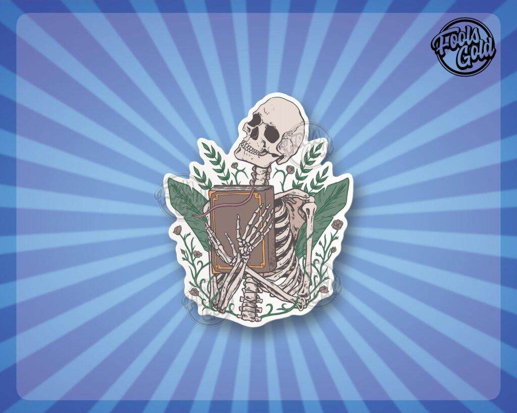 Sticker of a skeleton clutching a book to its chest