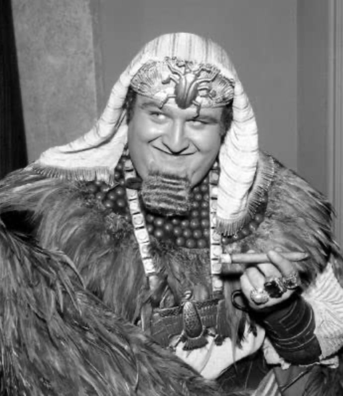 black and white image of Victor Buono as King Tut in BATMAN (1967) https://www.imdb.com/name/nm0120658/mediaviewer/rm4251817984/