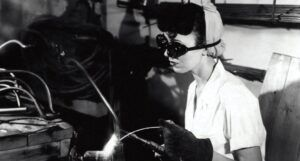 woman in a factory welding during World War 2