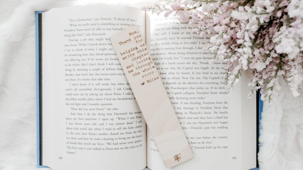 wooden engraved bookmark