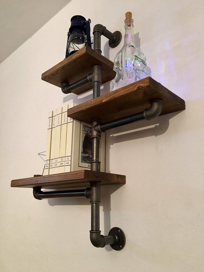3 shelf industrial wall shelves