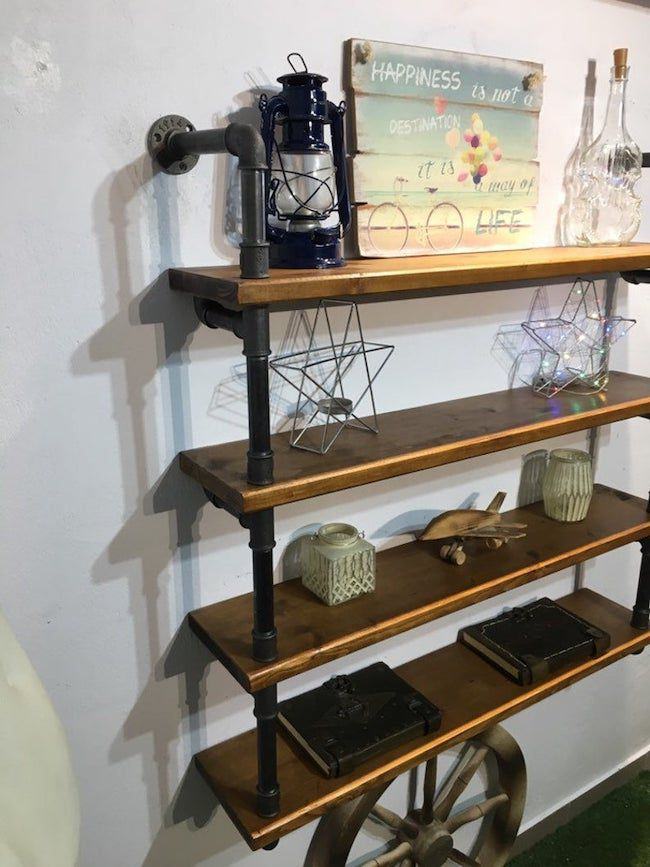 4 shelf industrial wall shelves
