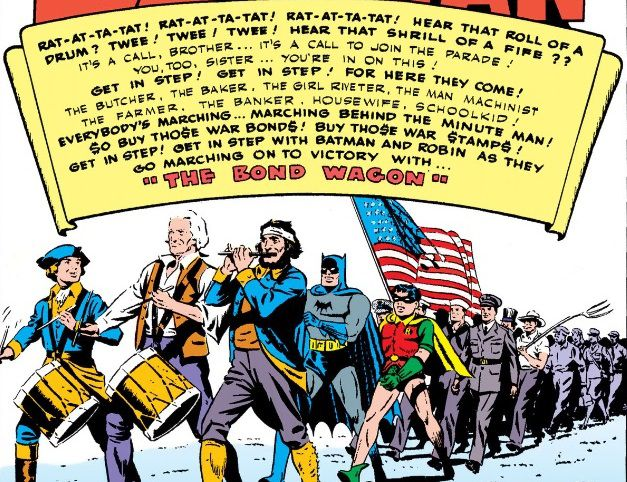 panel from Detective Comics #78; Batman and Robin are marching with soldiers under a banner promoting war bonds