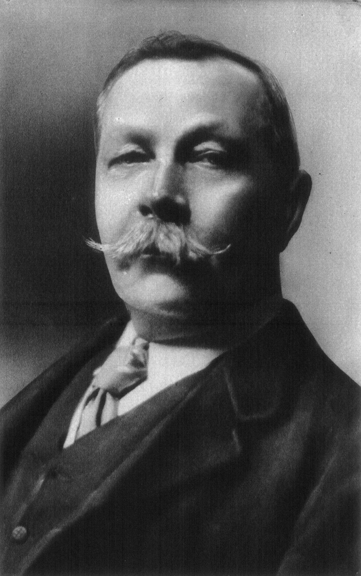 image of Arthur Conan Doyle from public domain https://en.wikipedia.org/wiki/Arthur_Conan_Doyle#/media/File:Conan_doyle.jpg