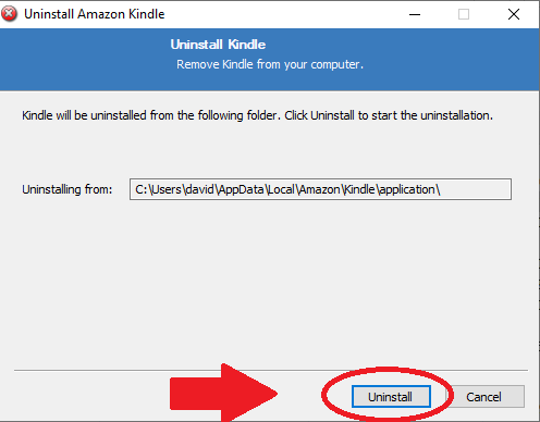 how to uninstall the amazon kindle app pc