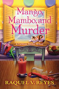 Book cover shows a cozy room with a calico cat lounging in an open window in the background and a desk with two glasses of a strawberry drink in the foreground. One glass is broken and liquid is spilling out onto the desk.
