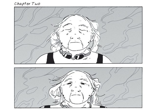 Two panels from Shadow Life, showing Kumiko floating face up in the pool