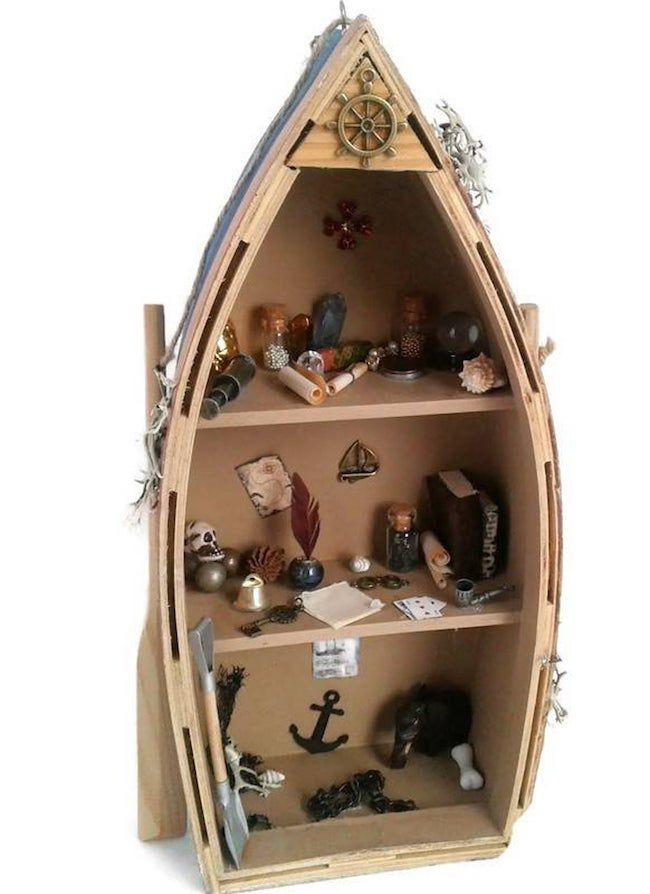 boat bookshelf for dollhouse