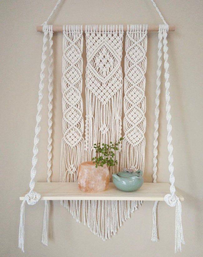 Bohemian macrame wall hanging shelf