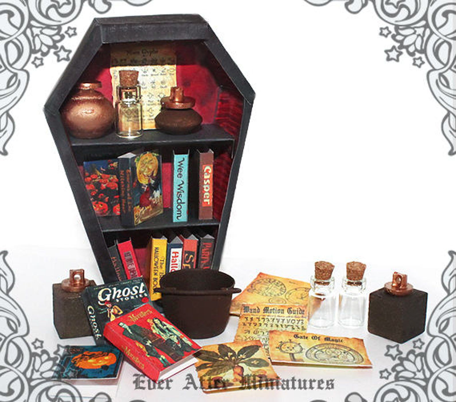 coffin bookcase for dollhouses