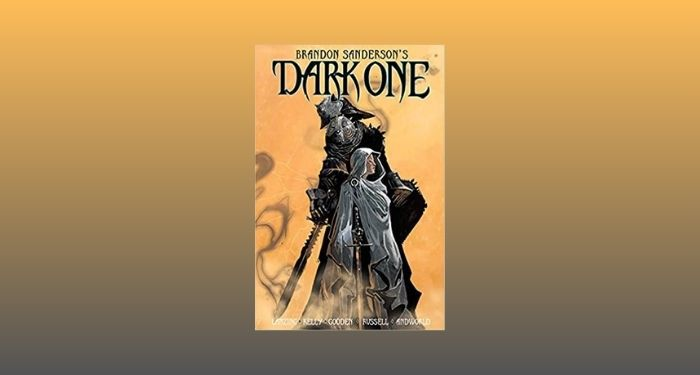 cover image of Dark One by Brandon Sanderson against a grey and light orange gradient backdrop
