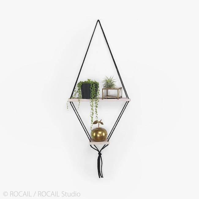 Diamond hanging rope shelf