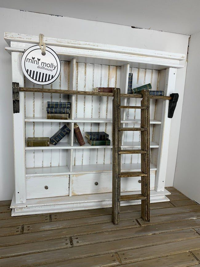 Dollhouse bookcase with ladder