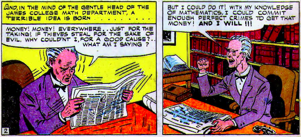 2 panels of Professor Million reading the paper and deciding to do crime.