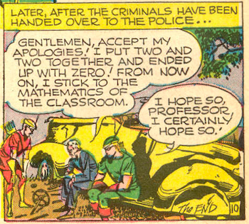 A panel showing Professor Million promising to end his criminal ways.