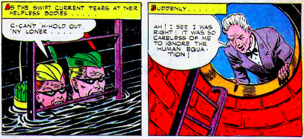 """Speedy and Green Arrow hold onto a ladder with their teeth as water raises to chin level. The next panel shows Million saying, """"It was careless of me to ignore the human equation!"""""""