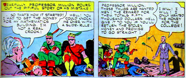 Two panels of Million explaining himself and Green Arrow offering him the money.