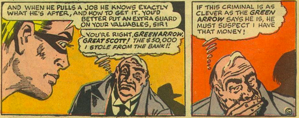 Two panels showing Mr. Powers thinking about his stolen 50 thousand dollars and whether Professor Million suspects him.