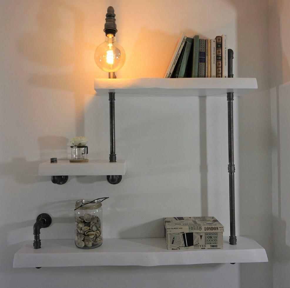 handmade industrial lamp and shelves