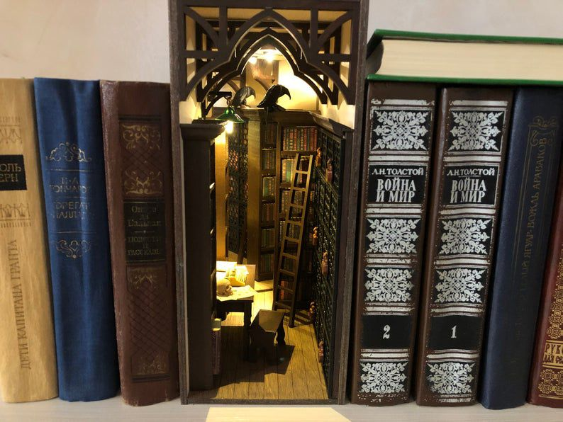 Dark academia book nook shelf insert