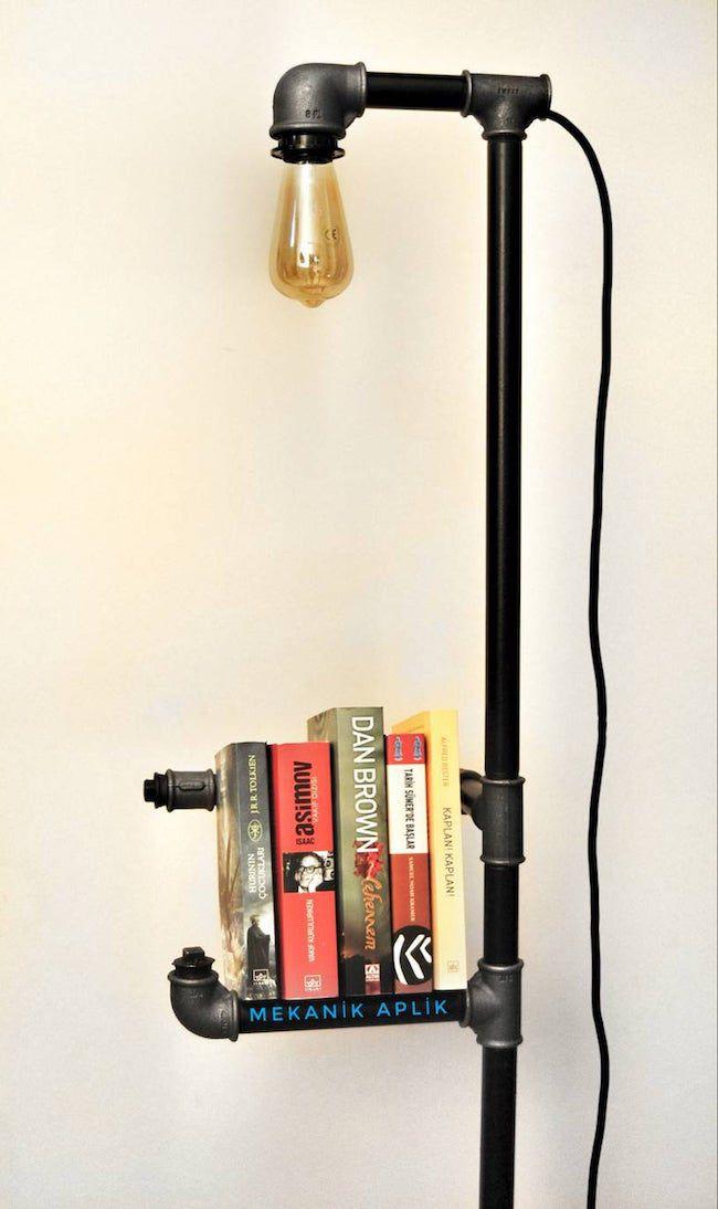 industrial floor lamp with bookshelf