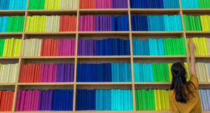 image of bookshelves arrange by color https://unsplash.com/photos/Z7srGedY5xk