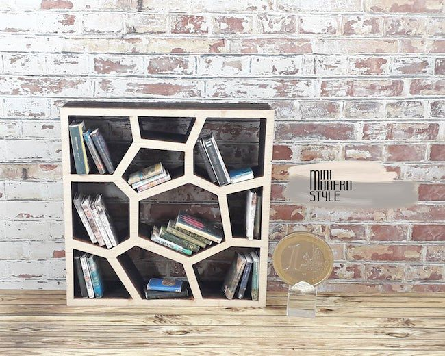 modern low bookcase for dollhouses