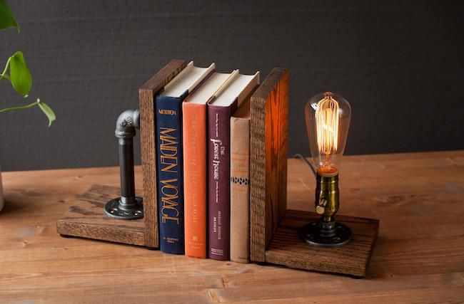 pipe bookend with edison light
