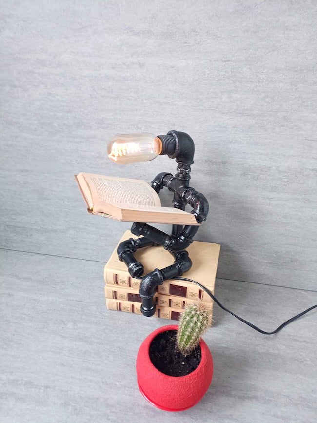 pipe figure desk lamp