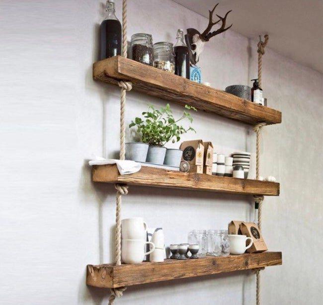 Three wooden hanging shelves