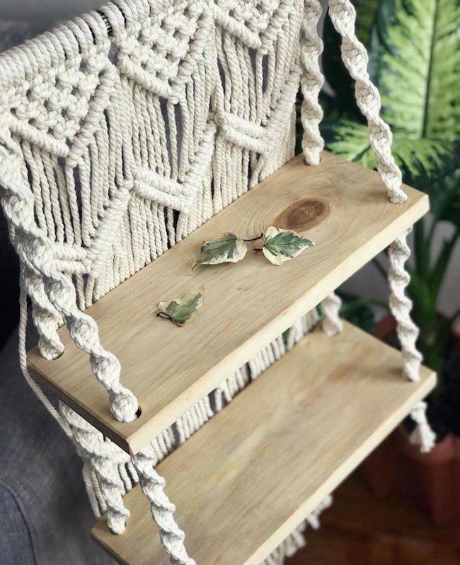 Two shelf with macrame hanging