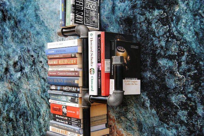 wall hanging pipe bookshelf