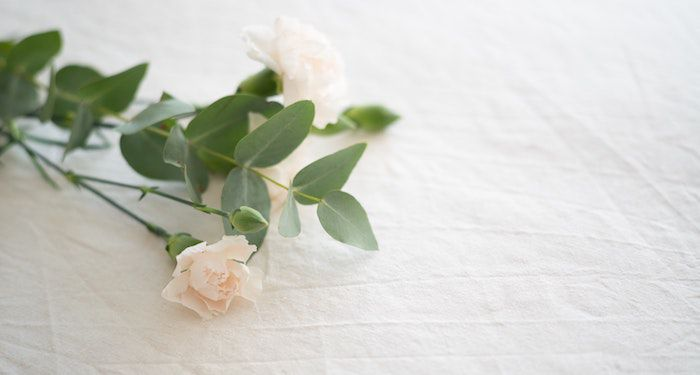 white flowers funeral feature